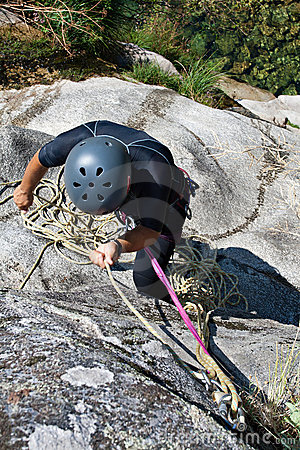 Men with rope for rappelling