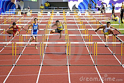 Men s 110 Meters Hurdles Editorial Stock Photo