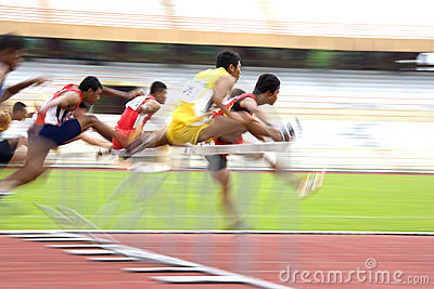 Men s 110 Meters Hurdles Action (Blurred) Editorial Image