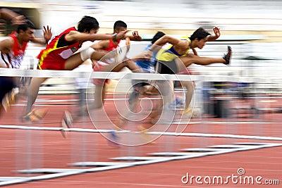 Men s 110 Meters Hurdles Action (Blurred)
