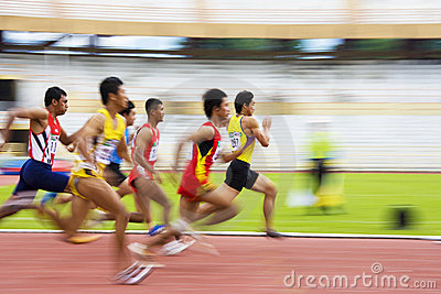 Men s 110 Meters Hurdles Action (Blurred) Editorial Photography