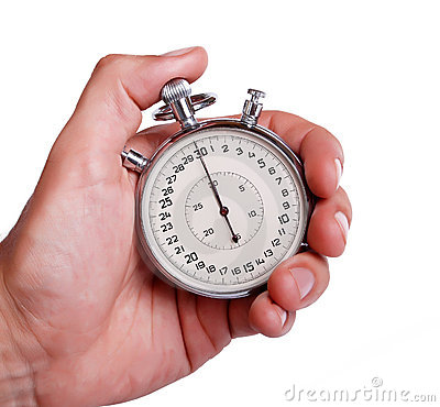 Mens hand with stopwatch