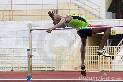 Men s High Jump Action Editorial Photography