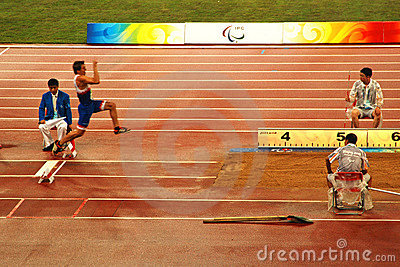 Men s long jump competition Editorial Image