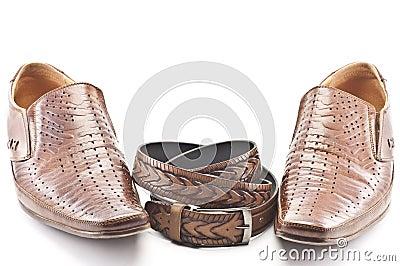 Men's shoes and men's belt