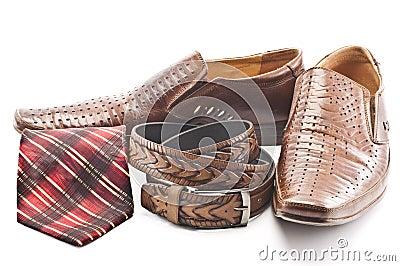 Men s shoes, tie and men s belt