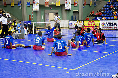 Men s Sitting Volleyball for Disabled Persons Editorial Stock Image
