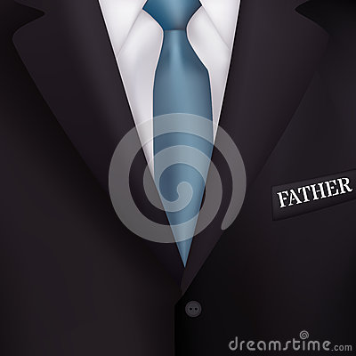 Men's suit with a blue tie-style realism backgrounds for invitations, for the holiday Father's Day Vector Illustration