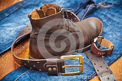 Menu0026#39;s Watches Leather Shoes Jeans Belt Stock Photo ...