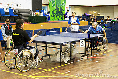 Men S Wheelchair Table Tennis Action Editorial Stock Image