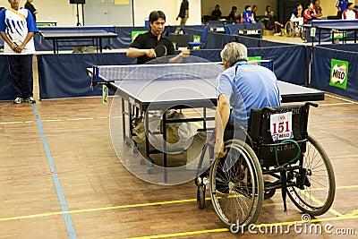 Men s Wheelchair Table Tennis Action