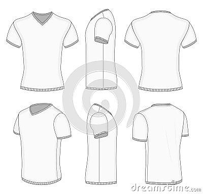 Mens White Short Sleeve T Shirt V Neck Vector Illustration