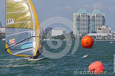 Men s windsurfing finals at the 2013 ISAF World Sailing Cup in M Editorial Photography