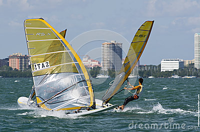 Men s windsurfing finals at the 2013 ISAF World Sailing Cup in M Editorial Image