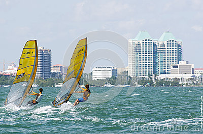 Men s windsurfing finals at the 2013 ISAF World Sailing Cup in M Editorial Stock Image