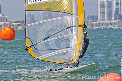 Men s windsurfing finals at the 2013 ISAF World Sailing Cup in M Editorial Stock Photo