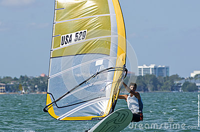 Men s windsurfing finals at the 2013 ISAF World Sailing Cup in M Editorial Photo
