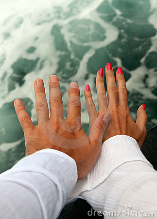 Men s and Women s tanned hands
