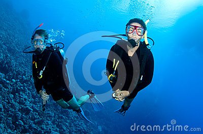 Men  scuba dive togeather