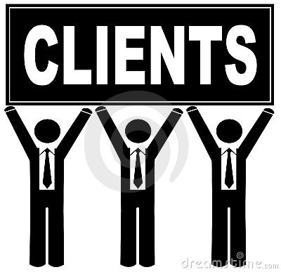 Men with sign saying clients