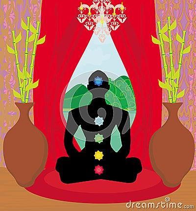 Men silhouette - chakra points