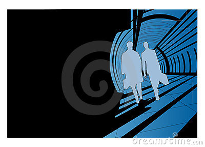 Men silhouettes walking
