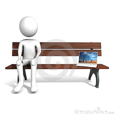 Men sitting on the bench near laptop.
