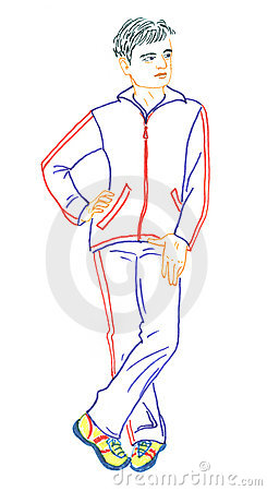 Men in sport suit, drawing