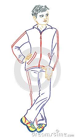 Men in sport suit, drawing