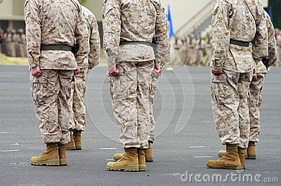 Men Standing at Attention