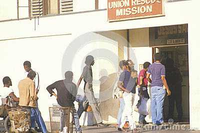 Men standing at the Union Rescue Mission Editorial Stock Image