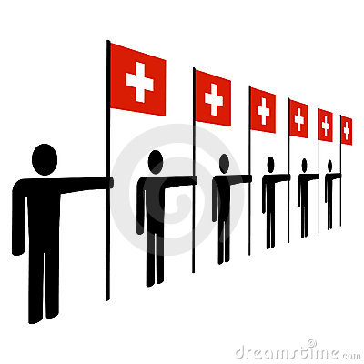 Men with Swiss flags