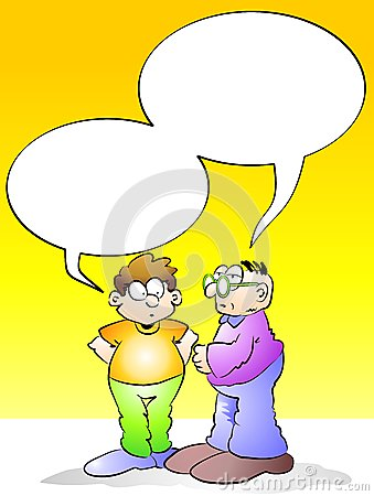 Men talking with empty speech bubble