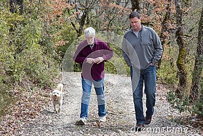 Men walking and talking
