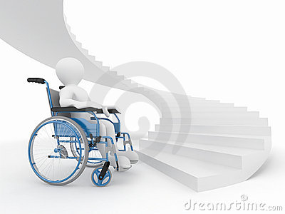 Men with wheelchair and stairs. Difficult decision