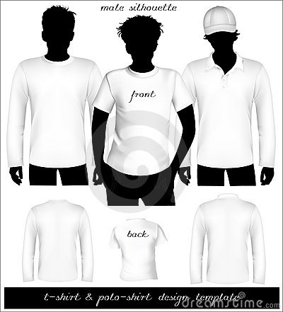 Men white t-shirt and polo shirt template with hu