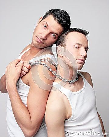 Free Men With Steel Chain In Underwear Stock Photo - 5104570