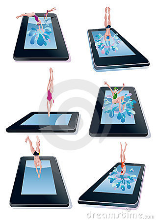 Men And Woman Diving Into Digital Tablet