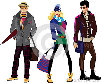 Men and women in fashionable clothes