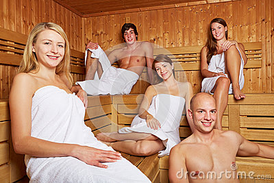 Men and women in mixed sauna