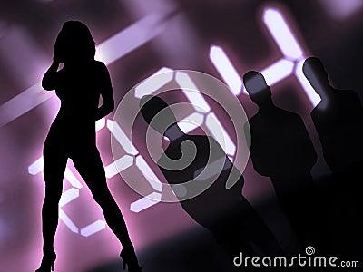 Men and women at night