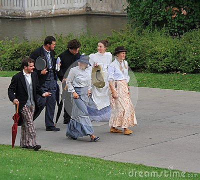 Men and Women in Period Costumes Editorial Photography