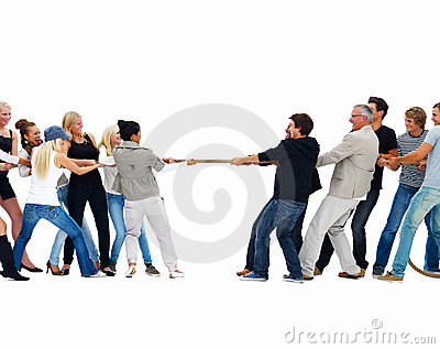 Men and women playing tug of war