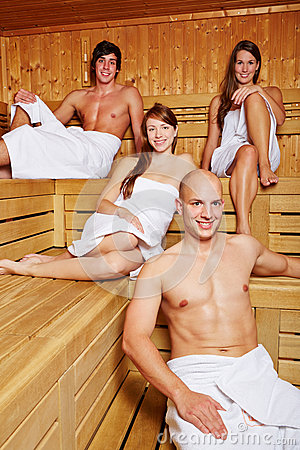 Men and women in sauna