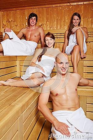 Men and women in sauna