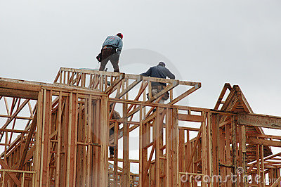 Men working on new home