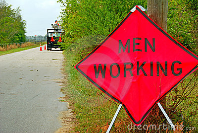 Men Working Sign and Workers