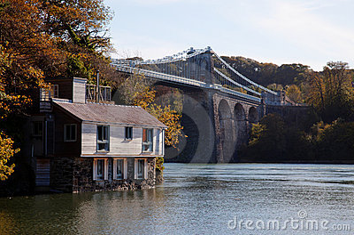 Menai Bridge and a house on the foreshore