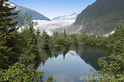 Mendenhall Glacier and Lake Near Juneau Alaska