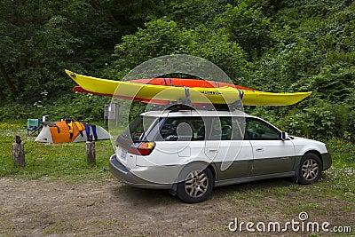 MENDOCINO, CALIFORNIA, USA - JUNE 8. Sea kayak car camping in Ru Editorial Stock Photo